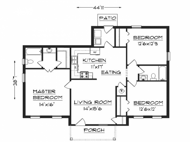 Awesome 48 Simple 3 Bedroom House Plans Lg 3 Bedroom 2 Bath House Plans Simple Home Plans 3 Bedrooms Pic