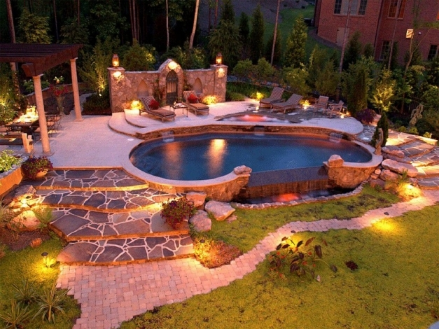 Awesome Great Garden Lighting Ideas For A Beautiful Log Cabin Exterior Log Cabin Lighting Ideas Pics