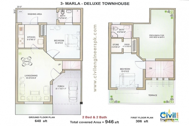Delightful 3 Marla House Plans Civil Engineers Pk 15 Marla House Design Pic
