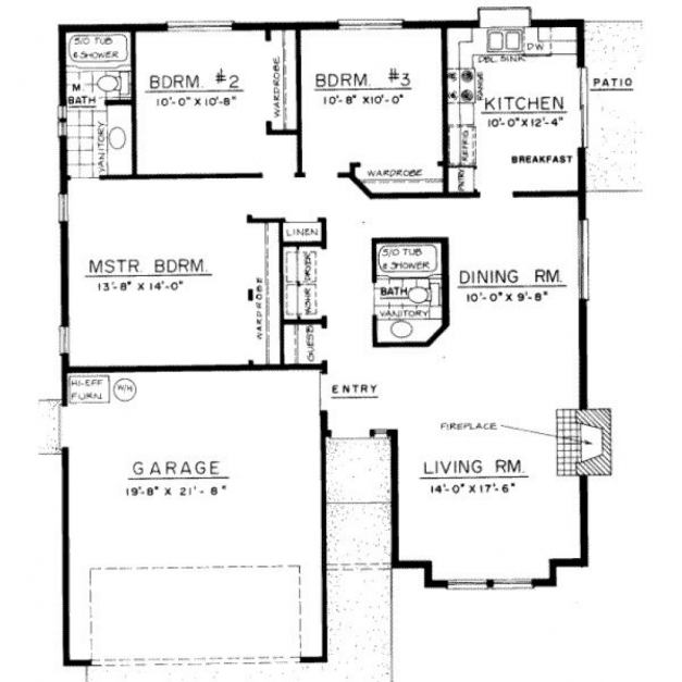 3 bedroom bungalow house floor plans