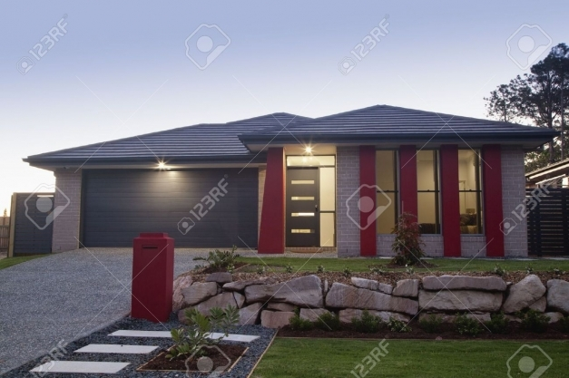 Outstanding Stylish Suburban House Front At Dusk Stock Photo Picture And Stylish Home Front Photo