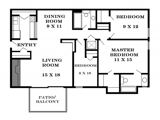 Nigerian architectural plan for one bedroom flat house for Architectural designs for 3 bedroom flat