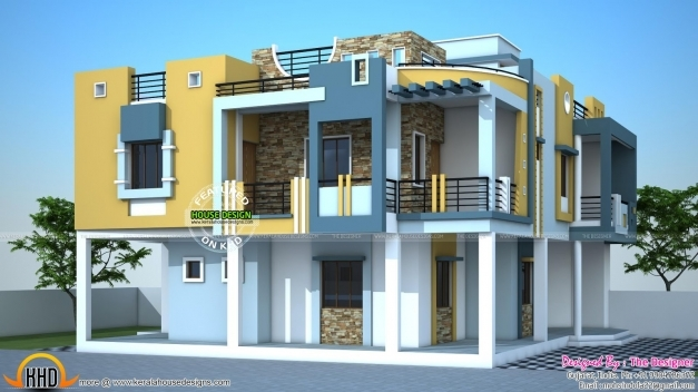 Front Elevation Duplex Houses Kerala : Amazing august kerala home design and floor plans