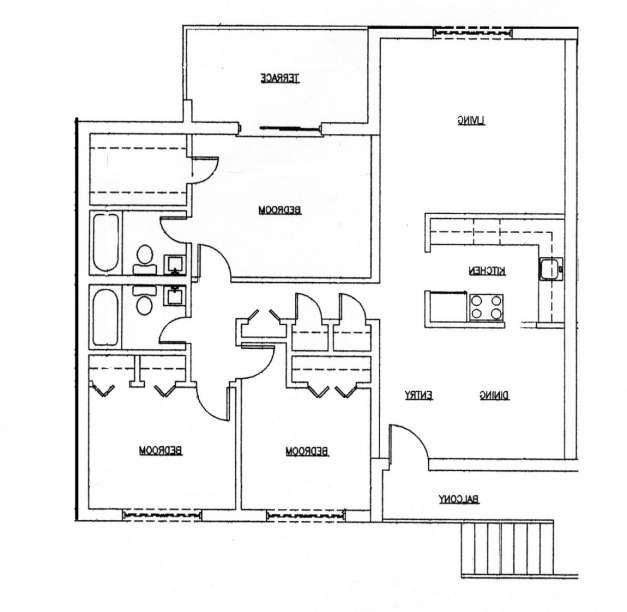 A house plan with garage on half plot house floor plans for Small three bedroom house