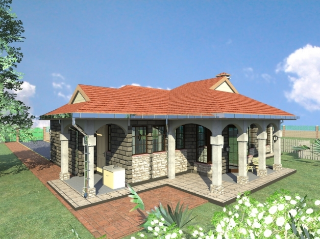 Flat roofed 3 bungalow kenya house floor plans for Roofing designs in kenya