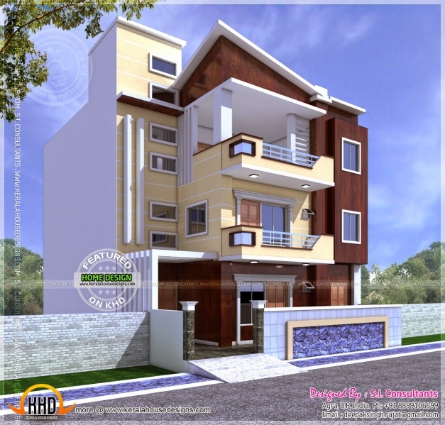 Amazing Three Storied House Jpeg Image 1372 1312 Pixels Scaled Front Elevation Of Indian House 30x50 Site Images
