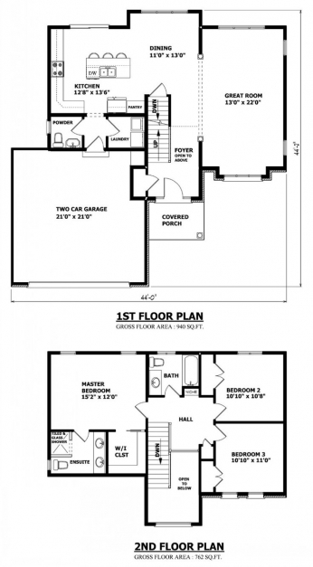Floor Plans And Elevations Of Residential Double Storey