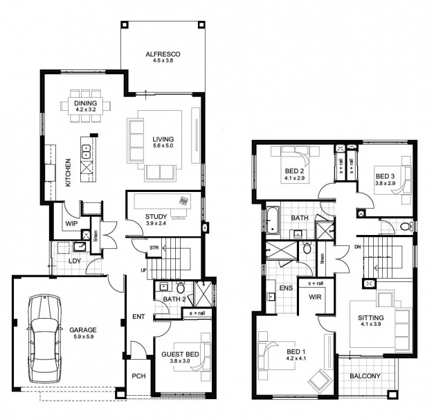 Two Storey House Floor Plan And Elevations - House Floor Plans