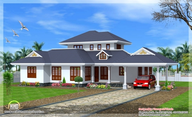Fantastic Beautiful Kerala Style Single Floor Villa Kerala Home Design And 3 Bedroom House Plans In Kerala Single Floor 3d Pics