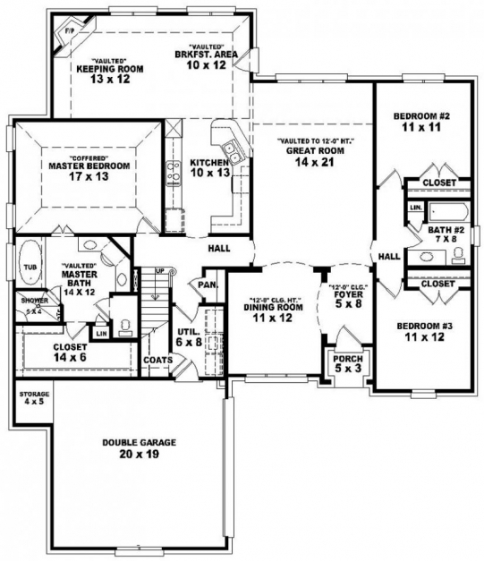 simple house plan with 3 bedrooms and garage house floor