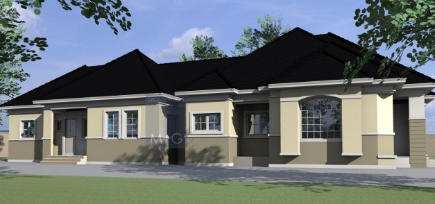 Fascinating Contemporary Nigerian Residential Architecture 4 Bedroom Bungalow Modern 3 Bedroom Flat Plan In Nigeria Photo