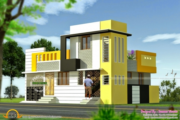 Fascinating january 2015 kerala home design and floor for Front elevations of duplex houses