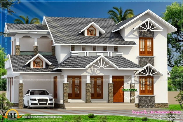 Incredible nice sloped roof kerala home design indian for Incredible house plans