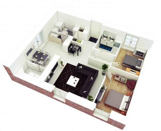 Stylish 25 More 2 Bedroom 3d Floor Plans 3 Loversiq 3 Bedroom House Plans In Kerala Single Floor 3d Image