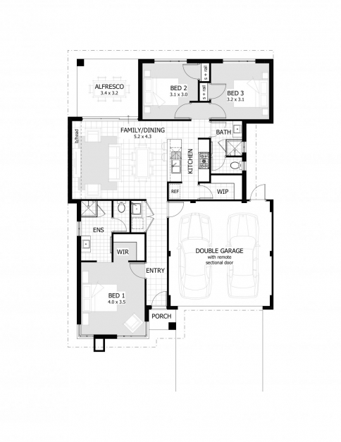 A house plan with garage on half plot house floor plans for Affordable garage plans