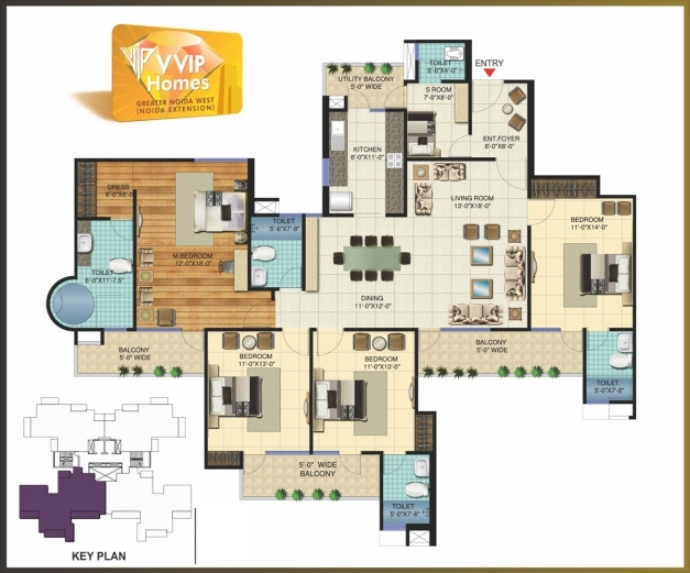 Nigeria three bedrooms flate floor plan house floor plans for 4 bedroom flat floor plan