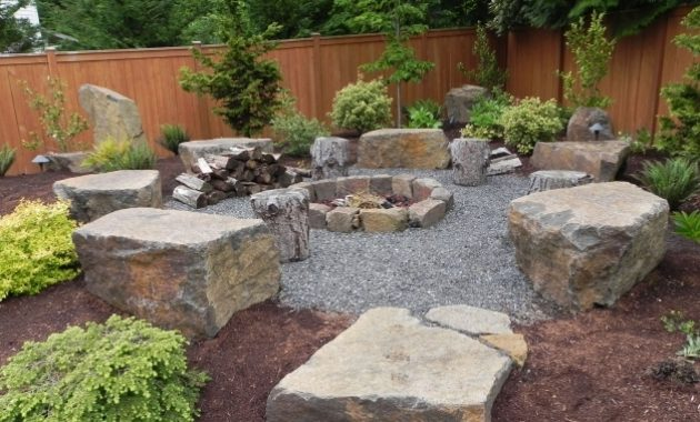 Stylish Landscape Backyard Fire Pit Landscaping Ideas Outdoor For Rock Yard Landscaping Ideas With Rocks Pic