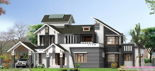 Wonderful Latest Stylish 5bhk Villa Elevation At 3130 Sqft Stylish Houses In Kerala Image