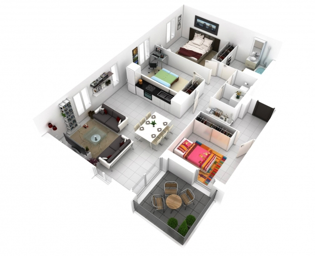 awesome more bedroom 3d floor plans idolza simple house plan with 3 bedrooms 3d pics - Simple House Plan With 2 Bedrooms 3d