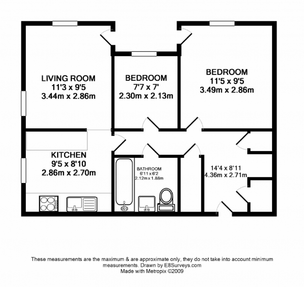 Best download three bedroom flat floor plan home intercine for Building plan for two bedroom flat