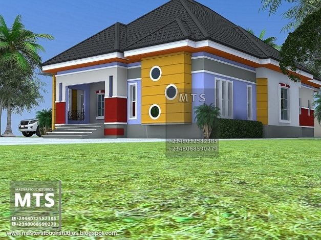 Delightful 3 Bedroom Bungalow Residential Homes And Public Designs 3 Bedroom Plan On A Half Plot Of Land In Nigeria Pics