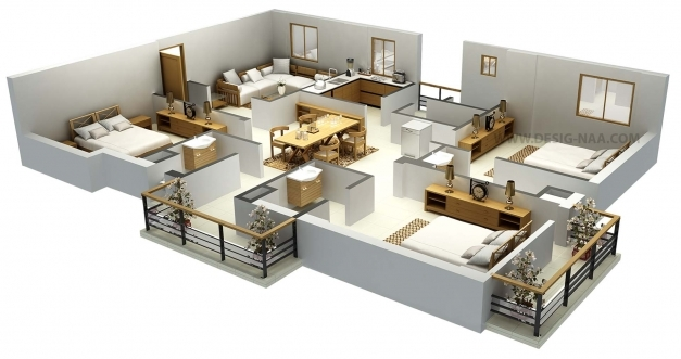 Fantastic Impressive Floor Plans In 3d Home Design 3D Floor Plan With 6 Bedroom Picture