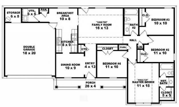 Fantastic Modern 4 Bedroom House Floor Plans Ahscgs Simple 4 Bedroom House Plans Picture