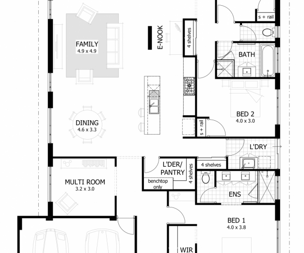 Guiapar com celebration house plans house floor plans for Simple house plan with 4 bedrooms