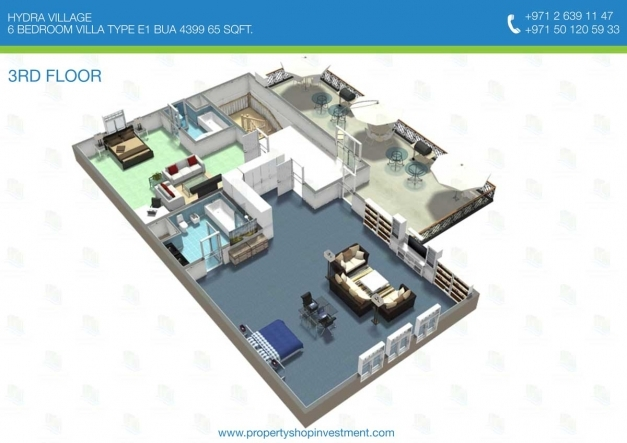 Stylish 3d Floor Plan Of 6 Bedroom Villa 4399 Sq Ft Hydra Village 3D Floor Plan With 6 Bedroom Image