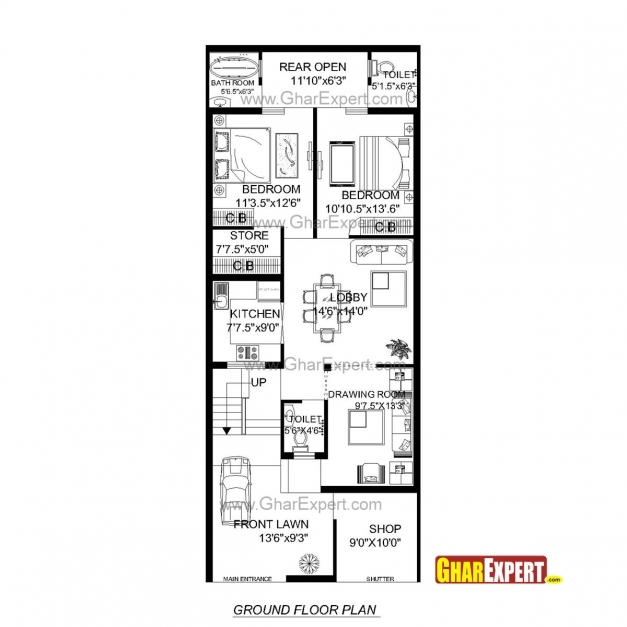 Delightful House Plan For 24 Feet 60 Feet Plot Plot Size160 Square Yards 20 Ft/80 Ft Land Construction Drawing Images