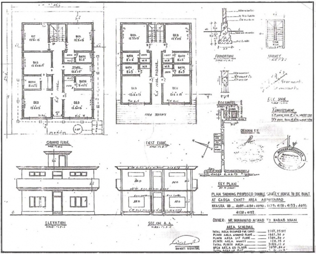 Fascinating 110508binladenhome 1200 Plan And Elevation Of House Amazing House Plan With Elevation And Section Pictures