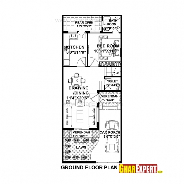 Fascinating House Plan For 20 Feet 50 Feet Plot Plot Size 111 Square Yards 20 Ft/80 Ft Land Construction Drawing Pic