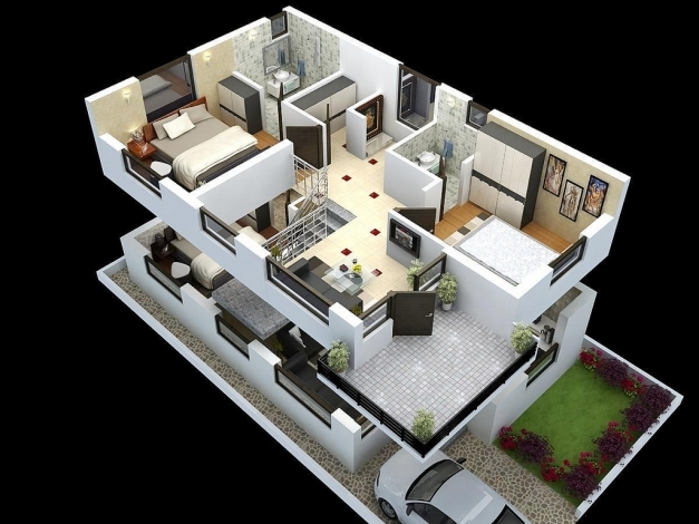 Gorgeous Duplex Home Plans And Designs Homesfeed 3d Modern Duplex Image
