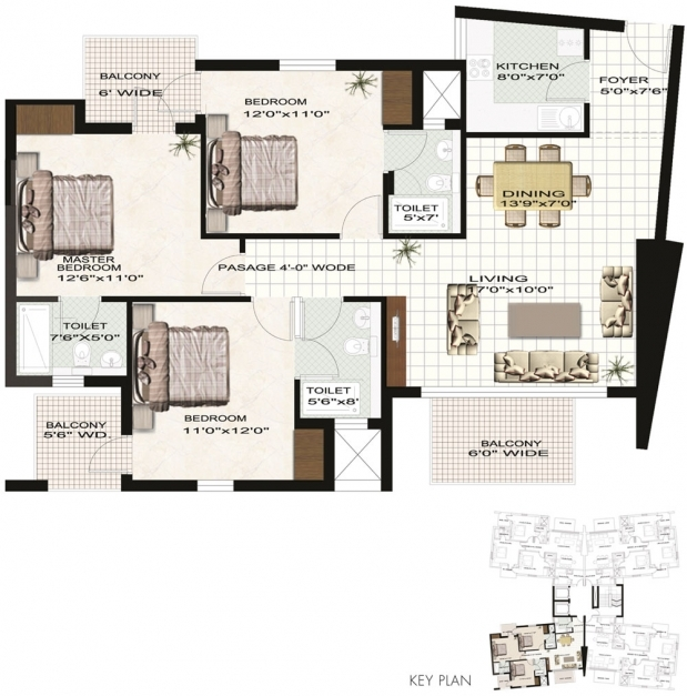 Gorgeous Low Budget Modern 3 Bedroom House Design Floor Plans Three Kerala 4 Bedroom Flat Plan On Half Plot Pic