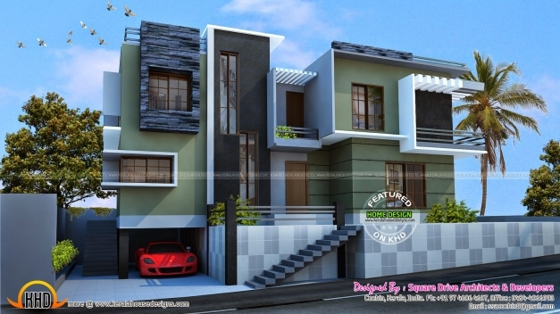 Gorgeous Modern Duplex House Kerala Home Design Floor Plans House Plans 3d Modern Duplex Pic