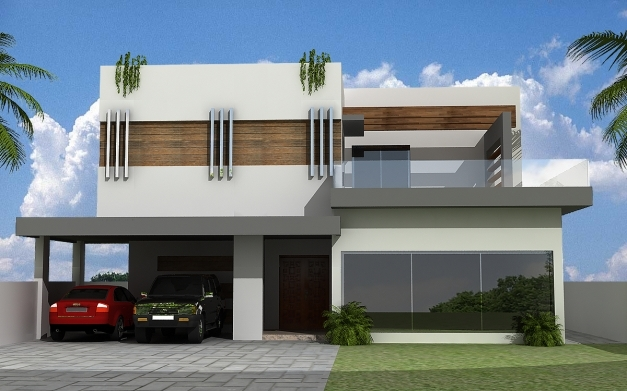 Front Elevation Of 1 Kanal House : Kanal modern house elevation floor plans