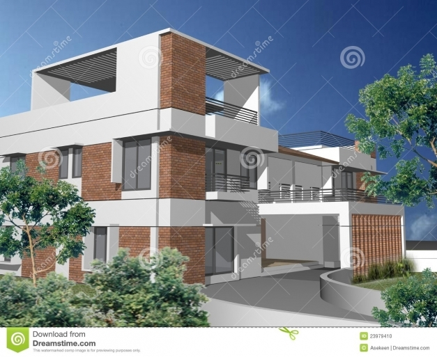 Stunning 3d Duplex House Stock Photo Image 23979410 3d Modern Duplex Photos