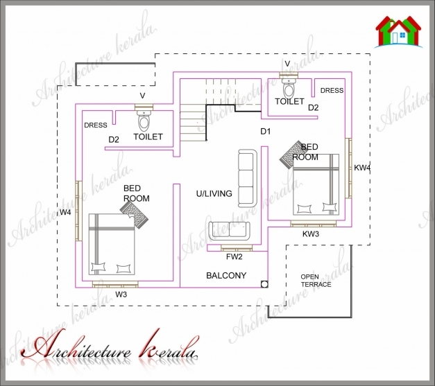 Amazing A Small Kerala House Plan Architecture Kerala 2 Bedroom House Plans Kerala Style 1000 Sq Feet Image