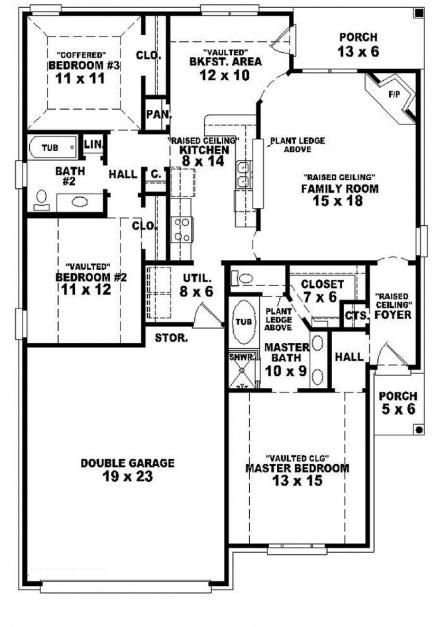 Fascinating 654104 4 Beautifully Idea 3 Bedroom 2 Bath Single Story House 3 Bedroom House Plan Single Floor Photos