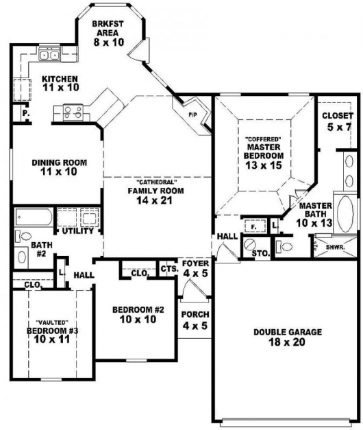... Inspiring One Story 3 Bedroom House Plans Photos And Video 3 Bedroom  House Plan Single Floor ...