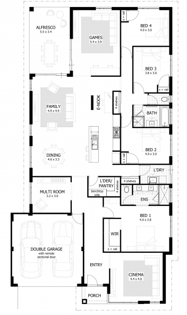 Stylish Apartments 4 Bedroom House Plans Bedroom Home Blueprints