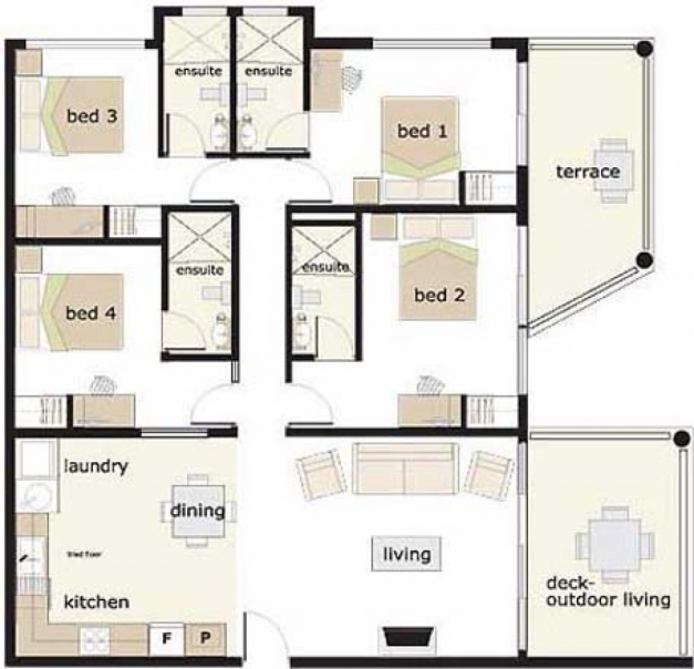Wonderful 4 Bedroom House Designs Floor Plans 4 Bedrooms House Design 4 4  Bedroom Bungalow House Floor Plans Photos
