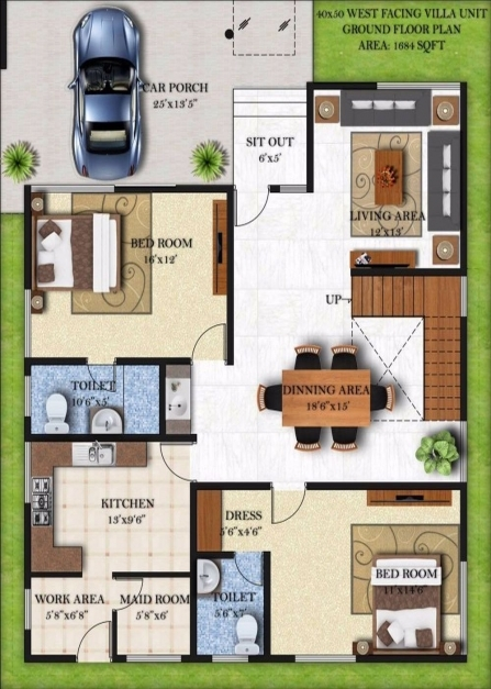 Fantastic Excellent House Plans For 40 X 50 Lakefront 15 West Facing Nikura 15*50 House Map Photo