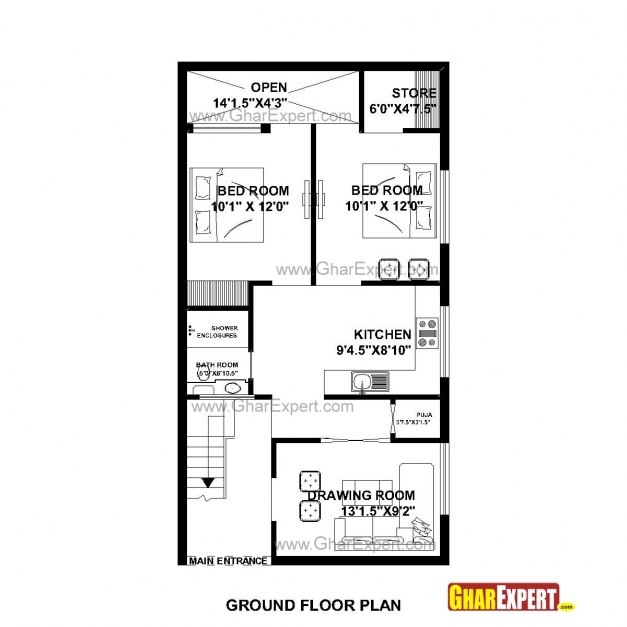 Inspiring House Plan For 23 Feet 45 Feet Plot Plot Size 115square Yards 15*50 House Map Pictures