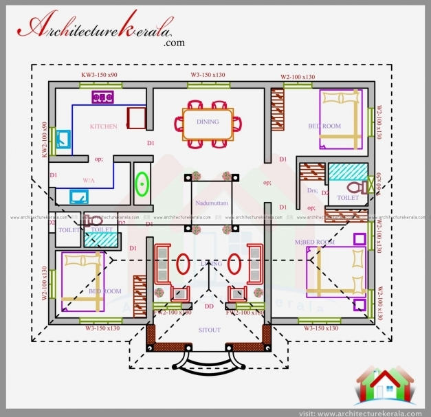 Awesome Three Bedrooms In 1200 Square Feet Kerala House Plan House Small Nalukettu House Plans Photos
