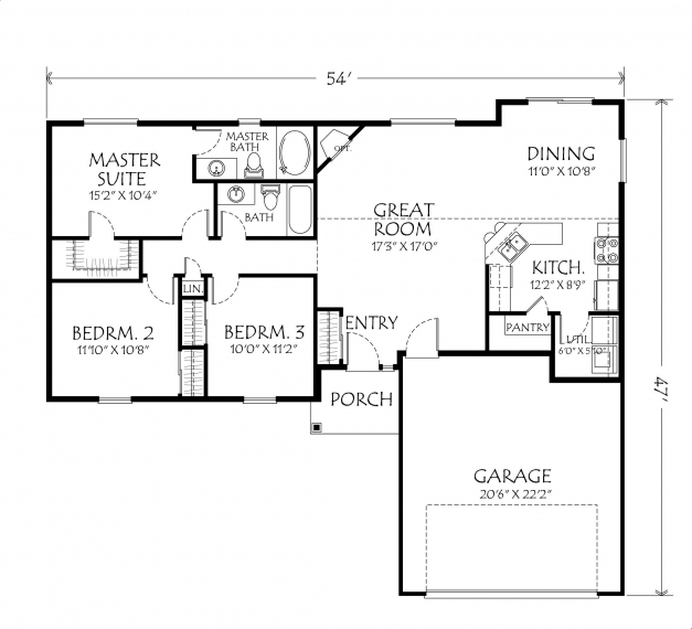 Delightful Singlestoryopenfloorplans Single Story Plan 3 Bedrooms 2 Intended 3 Bedroom Single Floor House Plan Picture