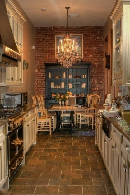 Fantastic Kitchen Nice Rustic Country Kitchen With Travertine Floor And Rustic Brick Flooring Images