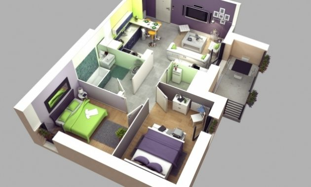 Marvelous 50 3d Floor Plans Lay Out Designs For 2 Bedroom House Or Apartment Home Plan 2 Bedroom 3d Picture