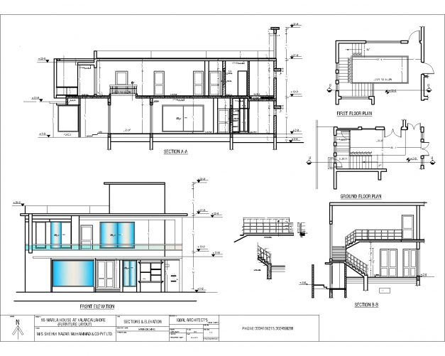 Elevation Floor Plan House : Elevation plan and section of residential building house