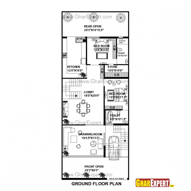 Gorgeous House Plan For 30 Feet 75 Feet Plot Plot Size 250 Square Yards 15 Feet By 60 Feet House Plan Pic